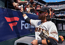 April 29, 2018 - San Francisco, CA, U.S. - SAN FRANCISCO, CA - APRIL 29: San Francisco Giants Shortstop Brandon Crawford (35) signing autographs before the San Francisco Giants and Los Angeles Dodgers game at AT&T Park on April 29, 2018 in San Francisco, CA.  (Photo by Stephen Hopson/Icon Sportswire) (Credit Image: © Stephen Hopson/Icon SMI via ZUMA Press)