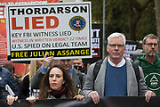 Stella Moris, fiancée of Wikileaks founder Julian Assange,  and Kristinn Hrafnsson, editor-in-chief of Wikileaks, take part in the March for Assange from BBC Broadcasting House to the Royal Courts of Justice organised by the Dont Extradite Assange campaign on 23rd October 2021 in London, United Kingdom. The US government will begin a High Court appeal on 27th October against a decision earlier this year not to extradite Assange to face espionage charges in the United States. Assange has been held in Belmarsh Prison since 2019.