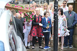 © Licensed to London News Pictures. 26/07/2017. Manchester, UK. The funeral of the Manchester bombing's youngest victim 8 year old Saffie Rose Roussos is taking place today at Manchester Cathedral. Saffie died when suicide bomber Salman Abedi detonated a bomb in the Manchester Arena at a Ariana Grande concert on the 22nd May 2017. Photo credit: Andrew McCaren/LNP