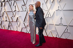 Brie Larson and Samuel L. Jackson arrive on the red carpet of The 91st Oscars® at the Dolby® Theatre in Hollywood, CA on Sunday, February 24, 2019.