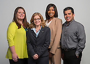 Houston ISD Bond Communications team members, L-R: Sara Butler, Sylvia Wood, Ashley Anthony and Francisco Rodriguez pose for a photograph, April 16, 2014.