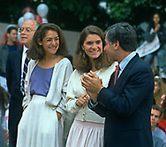 Michael Dukakis, the Governor of the State of Massachusetts, was the Democratic candidate for the President of the United States in the 1988 election. This set of photographs is from his campaign appearances, speeches, and strategy sessions during the New York and California primaries.