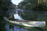 Ranger Wayne Hartley uses a canoe to conduct the daily census of Florida manatees, Trichechus manatus latirostris, at Blue Spring State Park, Orange City, Florida, USA, North America