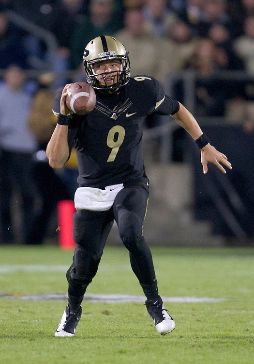 October 01, 2011:  Purdue quarterback Robert Marve (#9) sets to throw pass during NCAA Football game action between the Notre Dame Fighting Irish and the Purdue Boilermakers at Ross-Ade Stadium in West Lafayette, Indiana.  Notre Dame defeated Purdue 38-10.