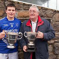 Cratloe's Captain Liam Markham and Chairman of Cratloe GAA club with the Senior County Hurling Cup and The Clare Cup, both of which Cratloe have won in 2014