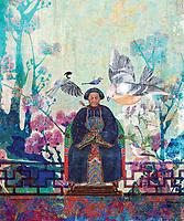 Royal Chinese Bird Lady Elder commanding presence in her wonderful garden.