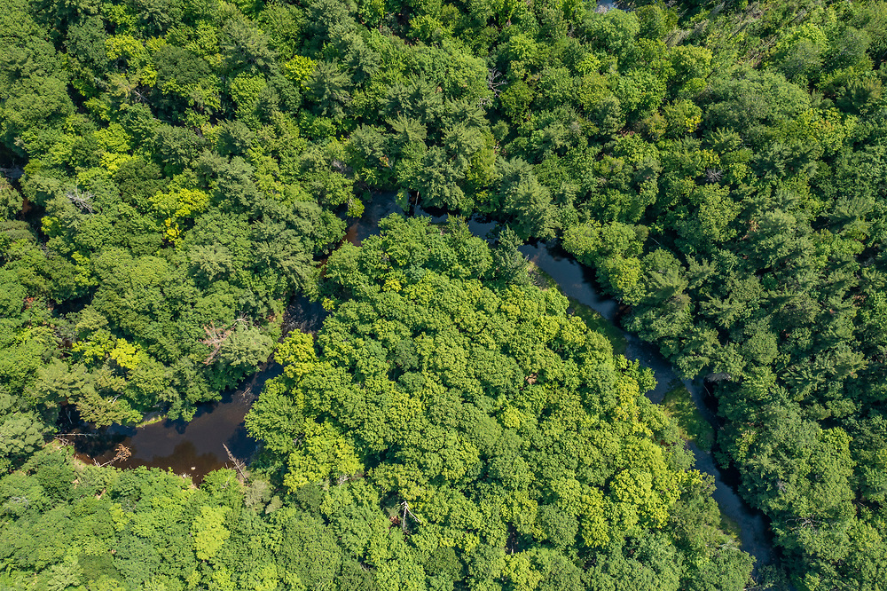 Aerial view of the Dead River Community Forest Preserve of the Upper Peninsula Land Conservancy near Marquette, Michigan.