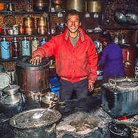 A Sherpa cook mans the teahouse and restaurant at Tengboche Monaster in Nepal.