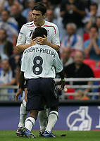 Photo: Lee Earle.<br /> England v Israel. UEFA European Championships Qualifying. 08/09/2007.Gareth Barry (b) congratulates Shaun Wright-Phillips after he scored England's first goal.