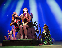 "Ursula the Sea Witch (Cece Zarella) with Jetsam (Callie McGreevy) and Flotsam (Willow Farley) during dress rehearsal for ""The Little Mermaid Jr"" presented by Gilford Middle School.  (Karen Bobotas/for the Laconia Daily Sun)"