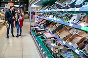 March 18, 2020, London, England, United Kingdom: Customers are seen shopping for items meanwhile groceries, meat, as well as hygienic shelves, go empty very fast at most supermarkets in London. For most people, the new coronavirus causes only mild or moderate symptoms, such as fever and cough. For some, especially older adults and people with existing health problems, it can cause more severe illness, including pneumonia. Coronavirus claimed 104 lives to date of the British people, with 2,626 confirmed positive, as reported by authorities on Wednesday, March 18, 2020. All schools will be closed starting on Friday until further notice. (Credit Image: © Vedat Xhymshiti/ZUMA Wire)