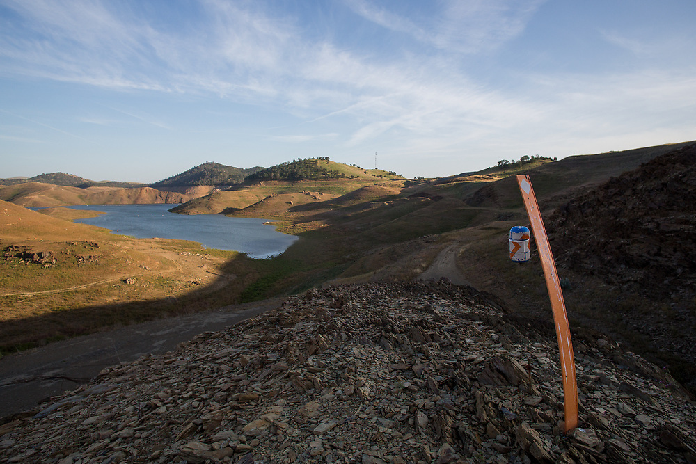 Lake McClure is the sole source of surface water delivery for the Eastern basin of Merced County. Due to extreme drought, it is nearly empty. The boat launch has been closed, and houseboats have remained in dry dock. April 13, 2015.