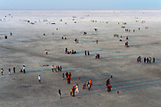 The Rann of Kutch is a desert of salt on the northwestern frontier of India with Pakistan. Viewed here on a national holiday from an observation tower.