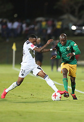 17032018 (Durban) Mthokozisi Dube of pirates and Lerato Lamola of Arrows tackle when Orlando Pirates walloped Golden Arrows 2-1 at the ABSA premier league encounter at Princess Magogo Staduim, in Kwa-Mashu, Durban. Pirates has advance their league position to number 2 with 41 points after Sundowns with 42 points lead.<br /> Picture: Motshwari Mofokeng/African New Agency/ANA