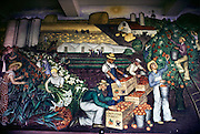 Works Project Administration (WPA) mural portrays California agriculture. Coit tower, San Francisco, California. USA The murals in Coit Tower were painted under the supervision of Mexican artist Diego Rivera during the 1930's, and carry strong socialist themes. They were very controversial at that time.