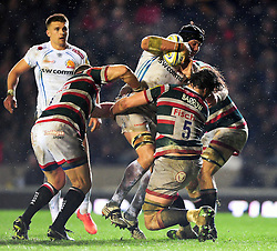 Mitch Lees of Exeter Chiefs takes on the Leicester Tigers defence - Mandatory byline: Patrick Khachfe/JMP - 07966 386802 - 03/03/2017 - RUGBY UNION - Welford Road - Leicester, England - Leicester Tigers v Exeter Chiefs - Aviva Premiership.