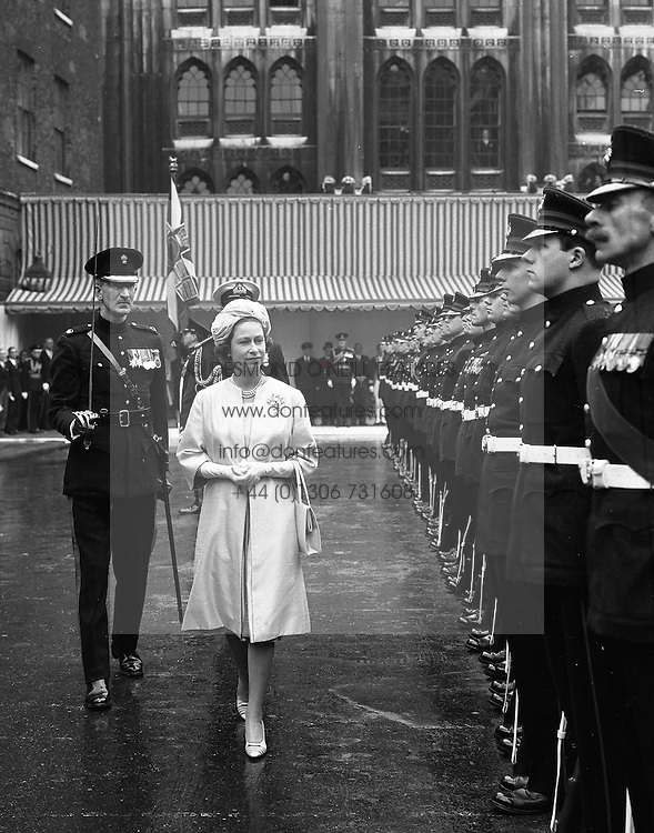 HM The Queen Elizabeth II inspecting the H.A.C. Guard of Honour at the Guildhall on 3rd April 1963.