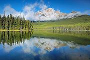 Pyramid Mountain reflected in Pyramid Lake<br /> Jasper National Park<br /> Alberta<br /> Canada