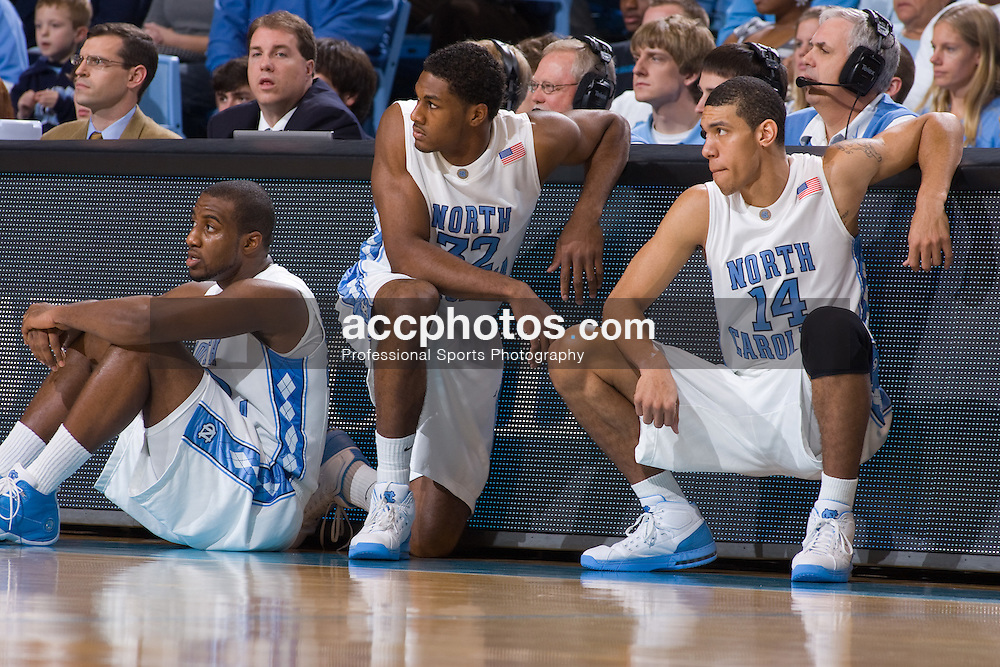 30 December 2007: North Carolina Tar Heels forward Mike Copeland (40), forward Alex Stepheson (32) and forward Danny Green (14) during a 114-62 win over the Valparaiso Crusaders at the Dean Smith Center in Chapel Hill, NC.