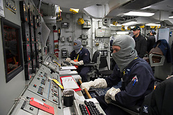 BALTIC SEA (May 9, 2017) Gas Turbine Systems Technician (Electrical) 2nd Class Kyle Brown, right, mans the electric plant control operator while Gas Turbine Systems Technician (Mechanical) 2nd Class Rockim Evans mans the propulsion and auxiliary control operator in the central control station aboard the Arleigh Burke-class guided-missile destroyer USS Carney (DDG 64) during a damage control training exercise. Carney is forward-deployed to Rota, Spain, conducting its third patrol in the U.S. 6th Fleet area of operations in support of U.S. national security interests in Europe. (U.S. Navy photo by Mass Communication Specialist 3rd Class Weston Jones/Released)170509-N-ZE250-037<br /> Join the conversation:<br /> http://www.navy.mil/viewGallery.asp<br /> http://www.facebook.com/USNavy<br /> http://www.twitter.com/USNavy<br /> http://navylive.dodlive.mil<br /> http://pinterest.com<br /> https://plus.google.com