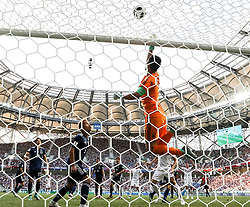 VOLGOGRAD, June 28, 2018  Japan's goalkeeper Eiji Kawashima (top) defends during the 2018 FIFA World Cup Group H match between Japan and Poland in Volgograd, Russia, June 28, 2018. Poland won 1-0. Japan advanced to the round of 16. (Credit Image: © Yang Lei/Xinhua via ZUMA Wire)