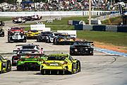 November 12-14, 2020. IMSA Weathertech Mobil 1 Sebring 12h: race start #16 Wright Motorsports, Porsche 911 GT3 R, Ryan Hardwick, Patrick Long, Jan Heylen