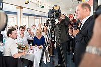 04 JUN 2019, BERLIN/GERMANY:<br /> Dirk Wiese, MdB, SPD, Sprecher Seeheimer Kreis, Hubertus Heil, SPD, Bundesarbeitsminister, Barabara Hendricks, SPD, Bundesministerin a.D., Manuela Schwesig, SPD, Ministerpraesidentin Mecklenburg-Vorpommern, waehrend der Rede von Olaf Scholz, SPD, Bundesfinanzminister, (v.L.n.R.), Spargelfahrt des Seeheimer Kreises der SPD, Anleger Wannsee<br /> IMAGE: 20190604-01-175