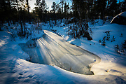 Animal tracks near frozen pond near Inari, Lapland, Finland