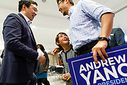 Democratic Presidential candidate Andrew Yang talks to supporters after speaking Saturday, April 27, 2019, during the Reaching Rural Voters Rural Caucus Forum at the Saints Center for Culture and the Arts in Stuart, Iowa.<br /> Scott Morgan for Quartz