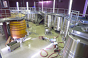 Fermentation tanks. Chateau Malartic Lagraviere, Pessac Leognan, Graves, Bordeaux, France