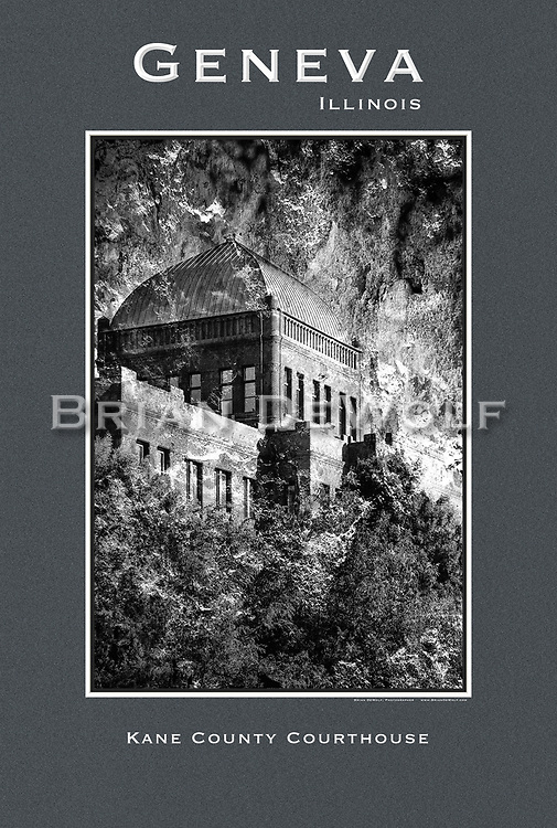 """Abstract design of the Kane County Courthouse in Geneva, IL. 24"""" x 36""""   This poster is  individuallly printed, to order,  on luster poster-weight paper. Price is $50 and can be paid by mail or by Paypal. Order using the Contact Form on this website."""