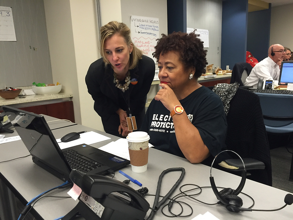 Fielding calls in the Election Protection headquarters.
