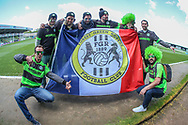 French FGR supporters during the EFL Sky Bet League 2 match between Forest Green Rovers and Exeter City at the New Lawn, Forest Green, United Kingdom on 4 May 2019.