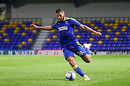 AFC Wimbledon defender Nesta Guinness-Walker (18) about to pass the ball during the EFL Sky Bet League 1 match between AFC Wimbledon and Bristol Rovers at Plough Lane, London, United Kingdom on 5 December 2020.