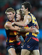 Adelaide Crows celebrate at full time of the AFL Round 06 match between the Sydney Swans and the Adelaide Crows at the SCG, Sydney. (Photo: Craig Golding/AFL Media)