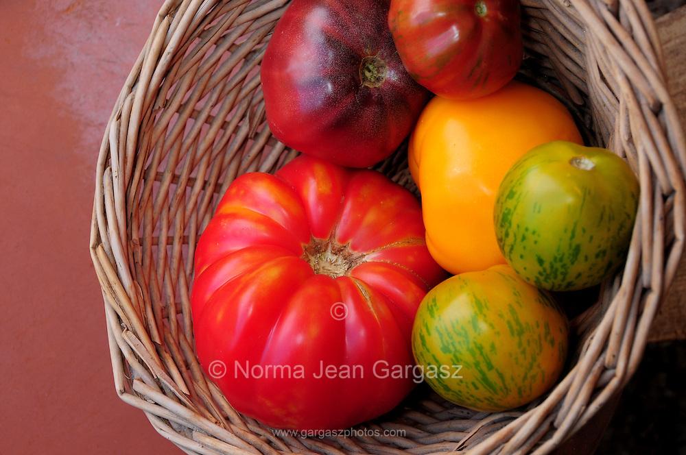 Organic heirloom tomatoes.