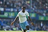 Coventry City Forward, Jordy Hiwula (11) scores a goal to mae it 0-1 during the EFL Sky Bet League 1 match between Portsmouth and Coventry City at Fratton Park, Portsmouth, England on 22 April 2019.