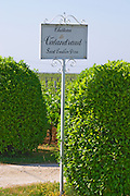 A sign in the vineyards saying Chateau Valandraud Saint Emilion Grand Cru, owned by Thunevin Saint Emilion Bordeaux Gironde Aquitaine France