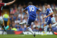 Eden Hazard of Chelsea shoots to score his sides 1st goal to make it 1-0. Premier league match, Chelsea v Burnley at Stamford Bridge in London on Saturday 27th August 2016.<br /> pic by John Patrick Fletcher, Andrew Orchard sports photography.