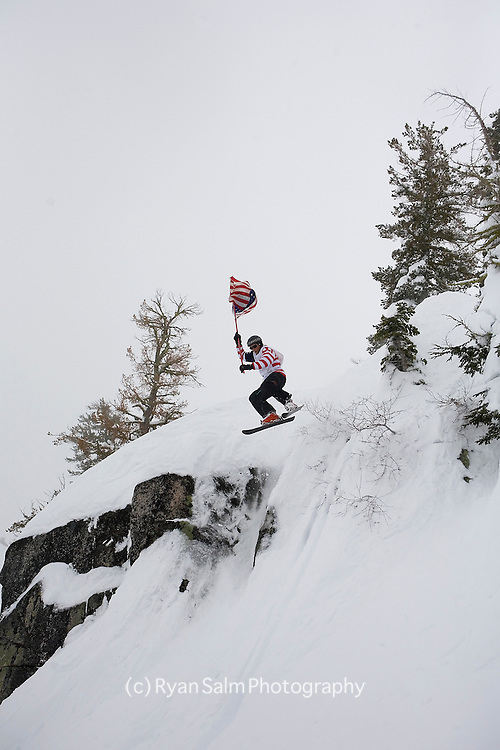 John Lange takes his American flag down Enchanted Forest during the Small Mountain Invitational at the  Pain McShlonkey