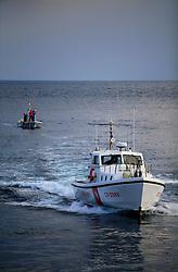 ITALY GIARDINI NAXOS 7MAY08 - Italian coast guard vessel arrives after the pursuit of illegal driftnet fishing boat Diomede II to their home port of Giardini Naxos  in Sicily in the Mediterranean Sea...jre/Photo by Jiri Rezac / Greenpeace..© Jiri Rezac 2008..Contact: +44 (0) 7050 110 417.Mobile:  +44 (0) 7801 337 683.Office:  +44 (0) 20 8968 9635..Email:   jiri@jirirezac.com.Web:    www.jirirezac.com..© All images Jiri Rezac 2008 - All rights reserved.