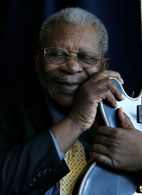 Washington, Sept. 12, 2005 - Blues legend B.B. King poses for a portrait at the National Press Club on Sept. 12, 2005 in Washington. Mr. King will be celebrating his 80th birthday on Sept. 16.