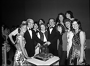 """Tops of the Town Final.   (N79)..1981..31.05.1981..05.31.1981..31st May 1981..The John Player sponsored Tops Of The Town competition had its final tonight in the Gaiety Theatre, Dublin.The overall winners were the Limerick Insurances Group...The cast and producer, Mr Douglas Howell, of the Limerick Insurances Group are congratulated on their win in the """"Tops"""" by runner up. Mr Raymond Kirk, St Joseph's Youth Club, Strabane."""