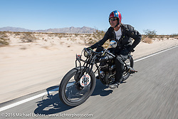 Doug Wothke of Alabama, an experienced long distance rider who has ridden a 1948 Indian Chief around the world as well as a 1962 Panhead chopper around the world, here riding his 1916 Indian during the Motorcycle Cannonball Race of the Century. Stage-14 ride from Lake Havasu CIty, AZ to Palm Desert, CA. USA. Saturday September 24, 2016. Photography ©2016 Michael Lichter.