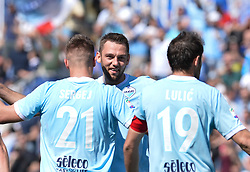 April 22, 2018 - Rome, Italy - Sergej Milinkovic-Savic celebrates with Stefan de Vrij  after scoring goal 1-0 during the Italian Serie A football match between S.S. Lazio and U.S. Sampdoria at the Olympic Stadium in Rome, on april 22, 2018. (Credit Image: © Silvia Lore/NurPhoto via ZUMA Press)