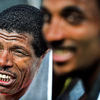 The Netherlands, Groningen, 13-10-2013.<br /> Athletics, International.<br /> 4 Miles of Groningen.<br /> Haile Gebrselassie on the left side and the winner Yenew Alamirew, both from Ethiopia, just after they passed finish line.<br /> Photo : Klaas Jan van der Weij