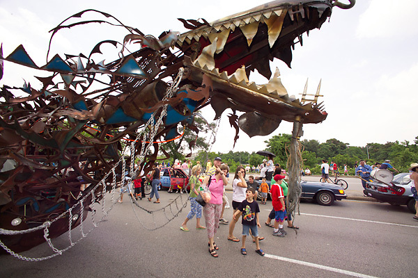 Stock photo of a large metal dragon