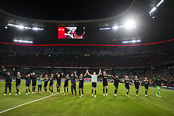players of Ajax celebrate during the UEFA Champions League group E match between Bayern Munich and Ajax Amsterdam at the Allianz Arena on October 02, 2018 in Munich, Germany