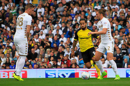 Burton Albion striker Sean Scannell (9) takes on Leeds United defender Luke Ayling (2) during the EFL Sky Bet Championship match between Leeds United and Burton Albion at Elland Road, Leeds, England on 9 September 2017. Photo by Richard Holmes.
