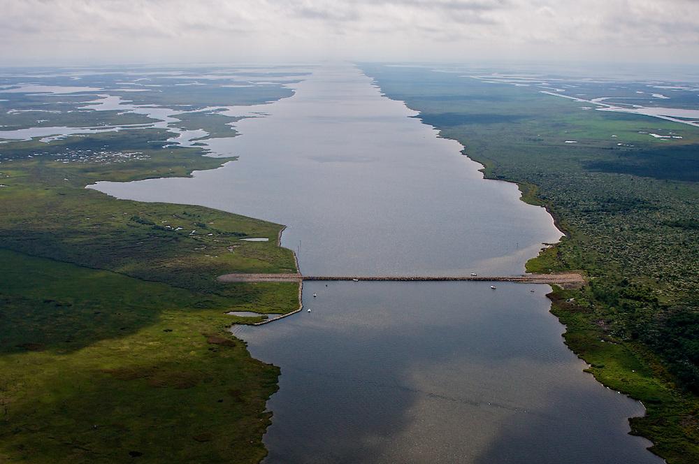 MRGO and Rock Dam at Bayou la Loutre